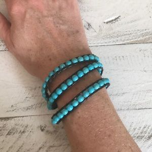 Jewelry - Turquoise beaded and brown leather wrap bracelet